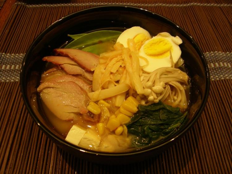 Miso ramen noodles soup