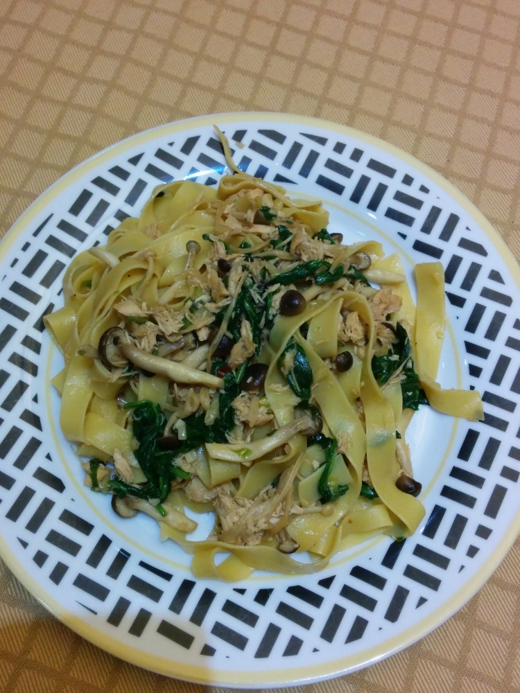 Mushroom and Salmon Linguine-2